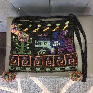 Peruvian Connection Charcoal Knit Alpaca Bag